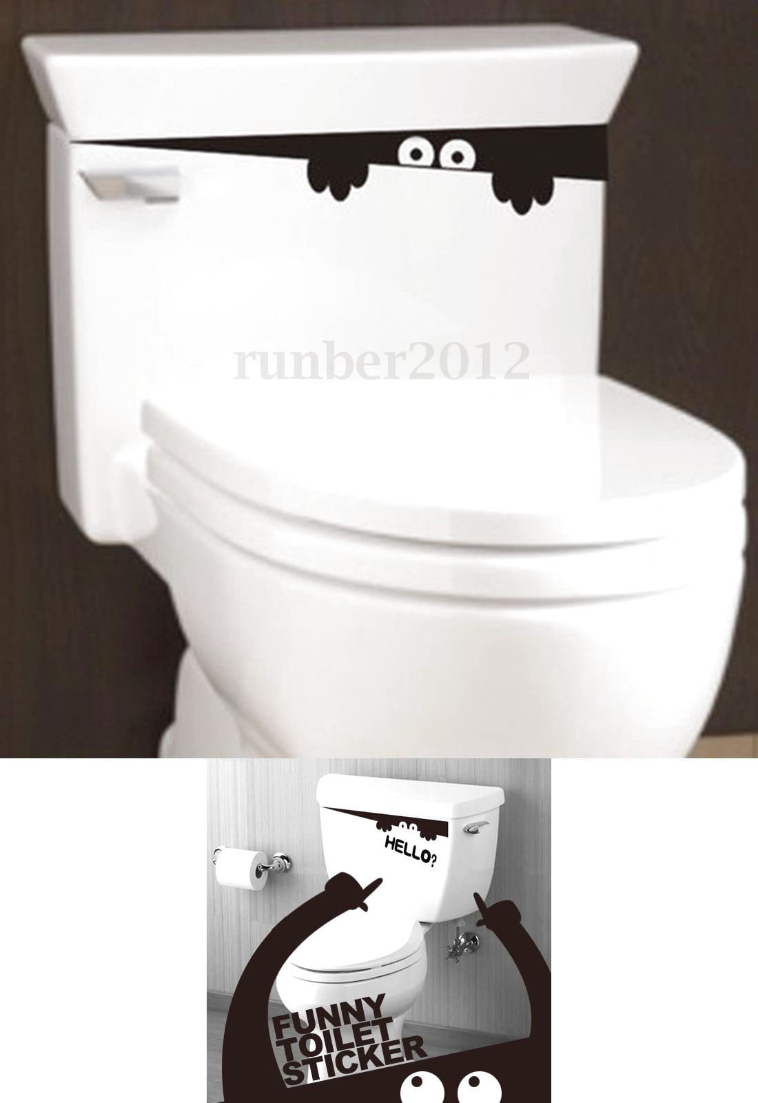 Funny bathroom toilet sticker monster decor hello removable wall art