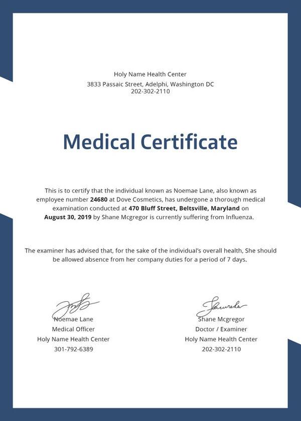 Medical Certificate Samples 10+ Free Word & PDF