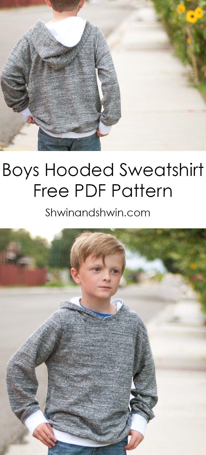 Boys Hooded Sweatshirt    Free PDF Pattern    Shwin&Shwin   Ropa de ...