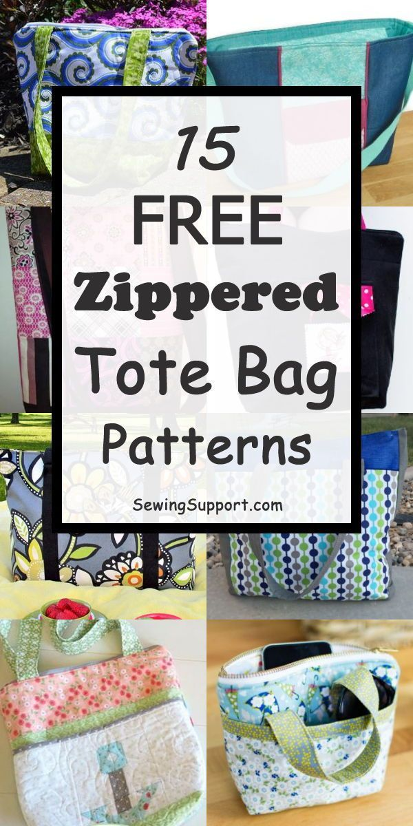Tote Bag Patterns with Zippered tops. 15 free diy sewing projects & tutorials. Large, small, and lined styles. #sewingsupport #bagpatterns #bagsewingpatterns