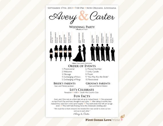 printable silhouette wedding program the avery one sided
