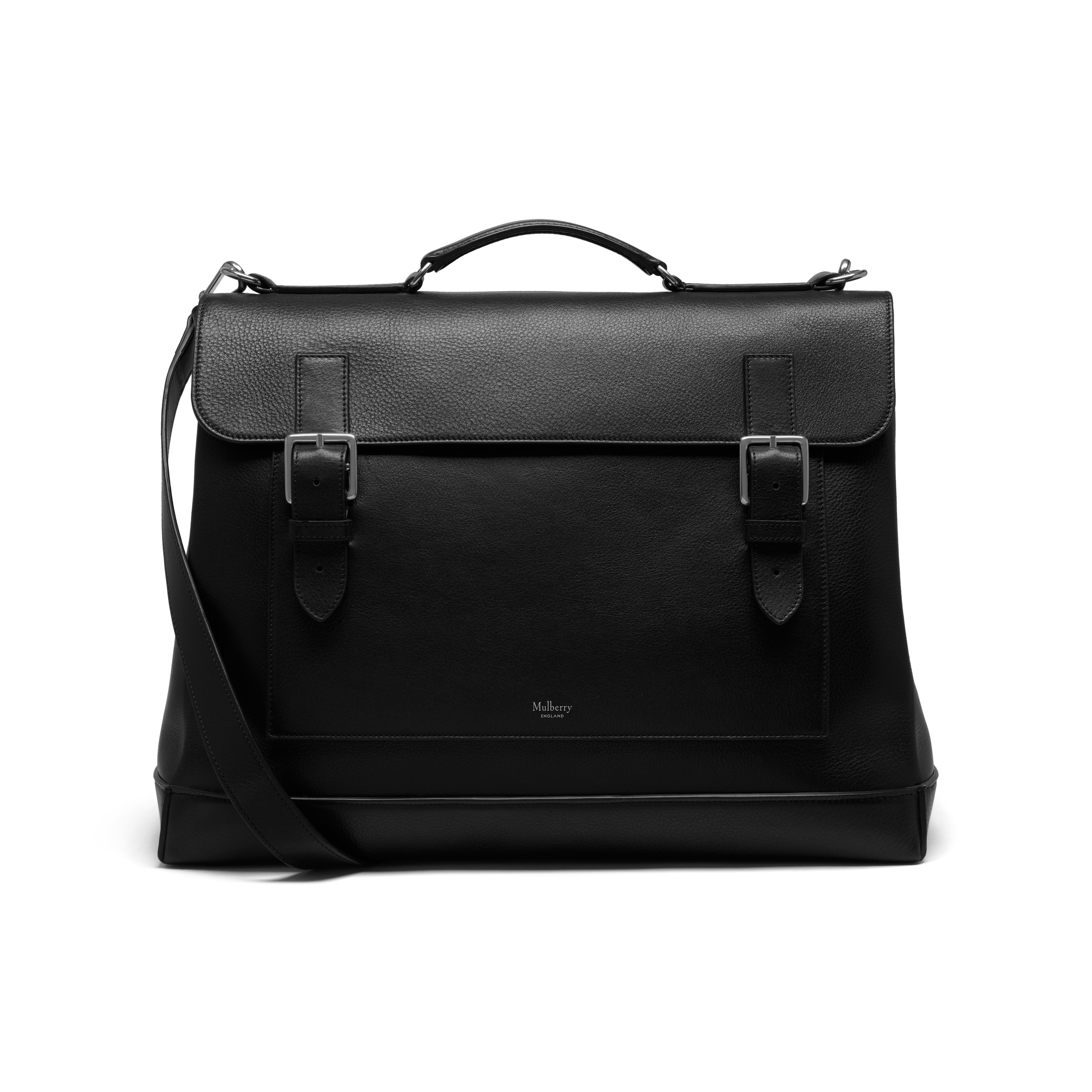 40d08de148 Shop the Chiltern Travel Bag in Black Natural Grain Leather at Mulberry.com.  The Chiltern Travel Bag has a nod to vintage school satchels with its  double ...