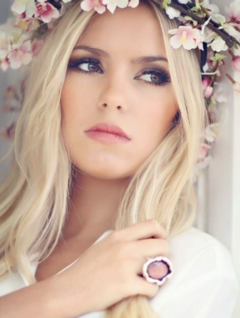 ... yet defined, whimsical, romantic, natural and perfect with a floral  head piece. This ticks all those boxes! A defined soft smokey eye and nude  peach ...