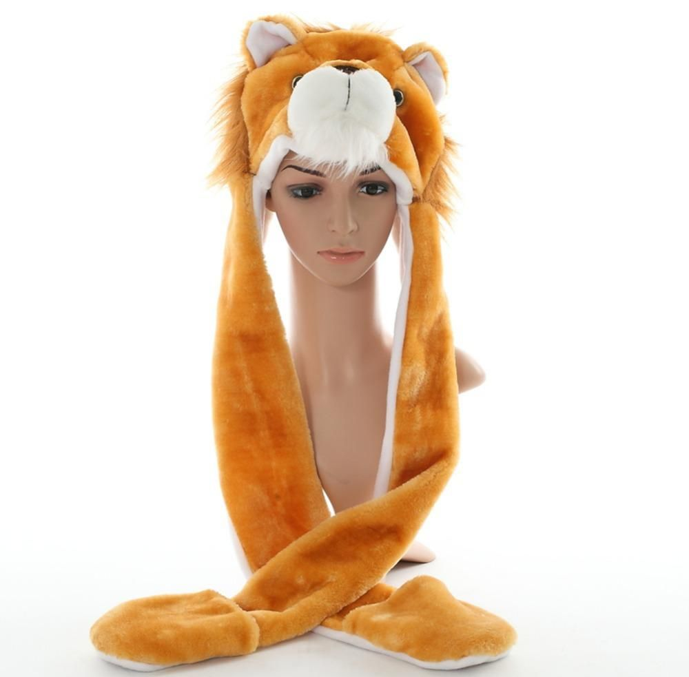 1ccec906b8e DOUBCHOW Cute Plush Animal Brown Lion Hats with Paws Gloves for Womens Mens  Teenagers Kids Boys Girls Winter Cosplay Warm Beanie