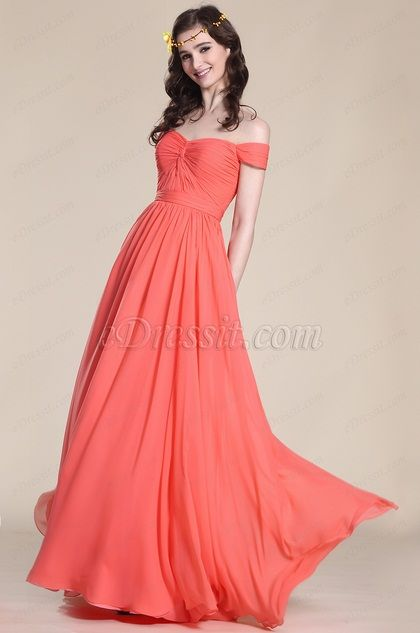 Wedding Dresses USD 99 : Usd elegant off shoulder coral bridesmaid dress