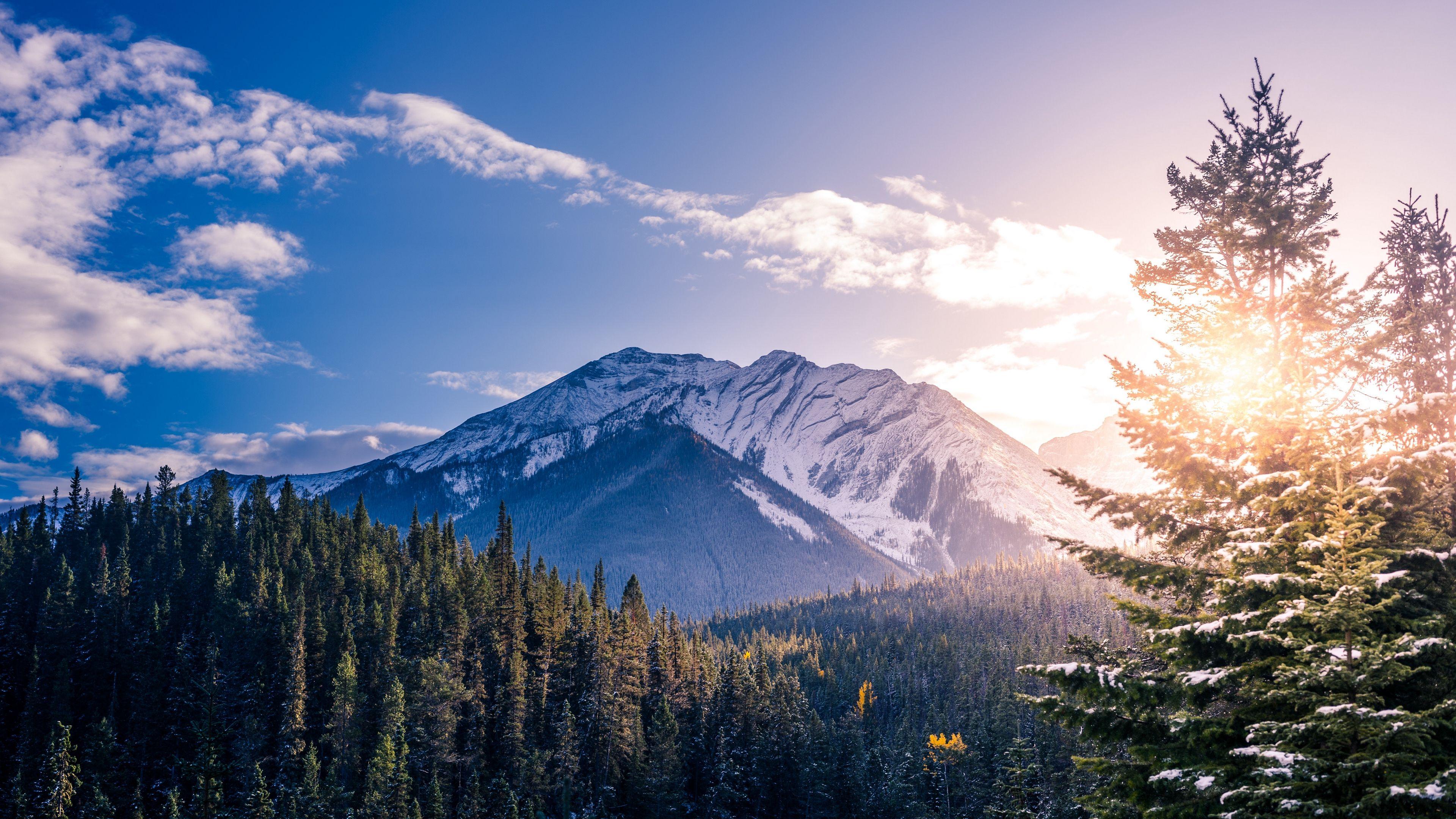 Download Wallpaper 3840x2160 Banff Canada Mountains Peaks Snow Covered 4k Uhd 16 9 Hd Background Landscape Wallpaper Banff National Park Banff