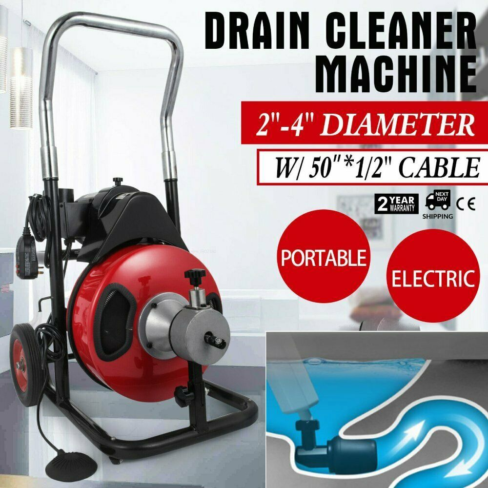 Sponsored Ebay Electric Drain Auger Drain Cleaner Machine 50ft X 1 2 Cleaning Snake Sewer Bt Drain Cleaner Clean Machine Cleaners