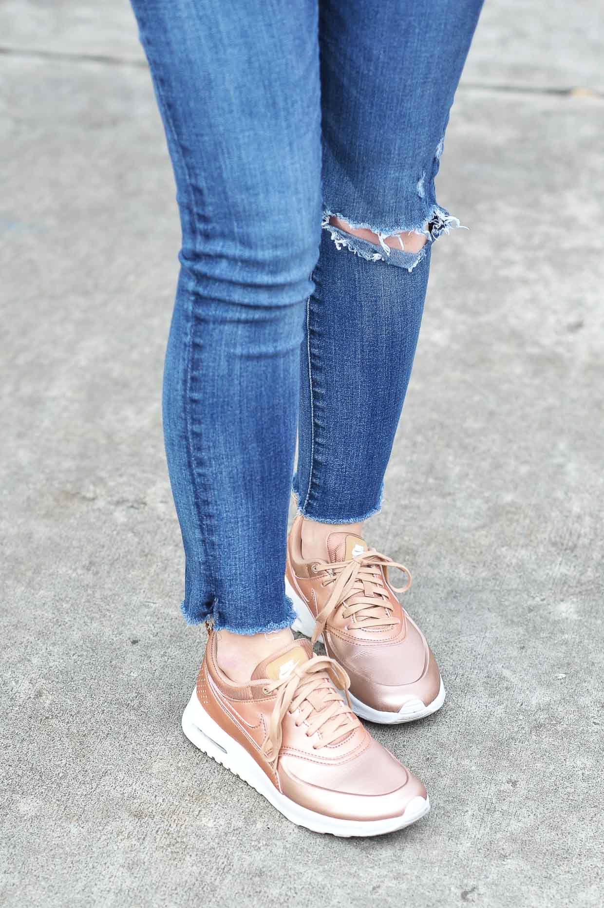 9c9c331b2481 Nike Metallic Air Max Thea Rose Gold Sneakers - Poor Little It Girl