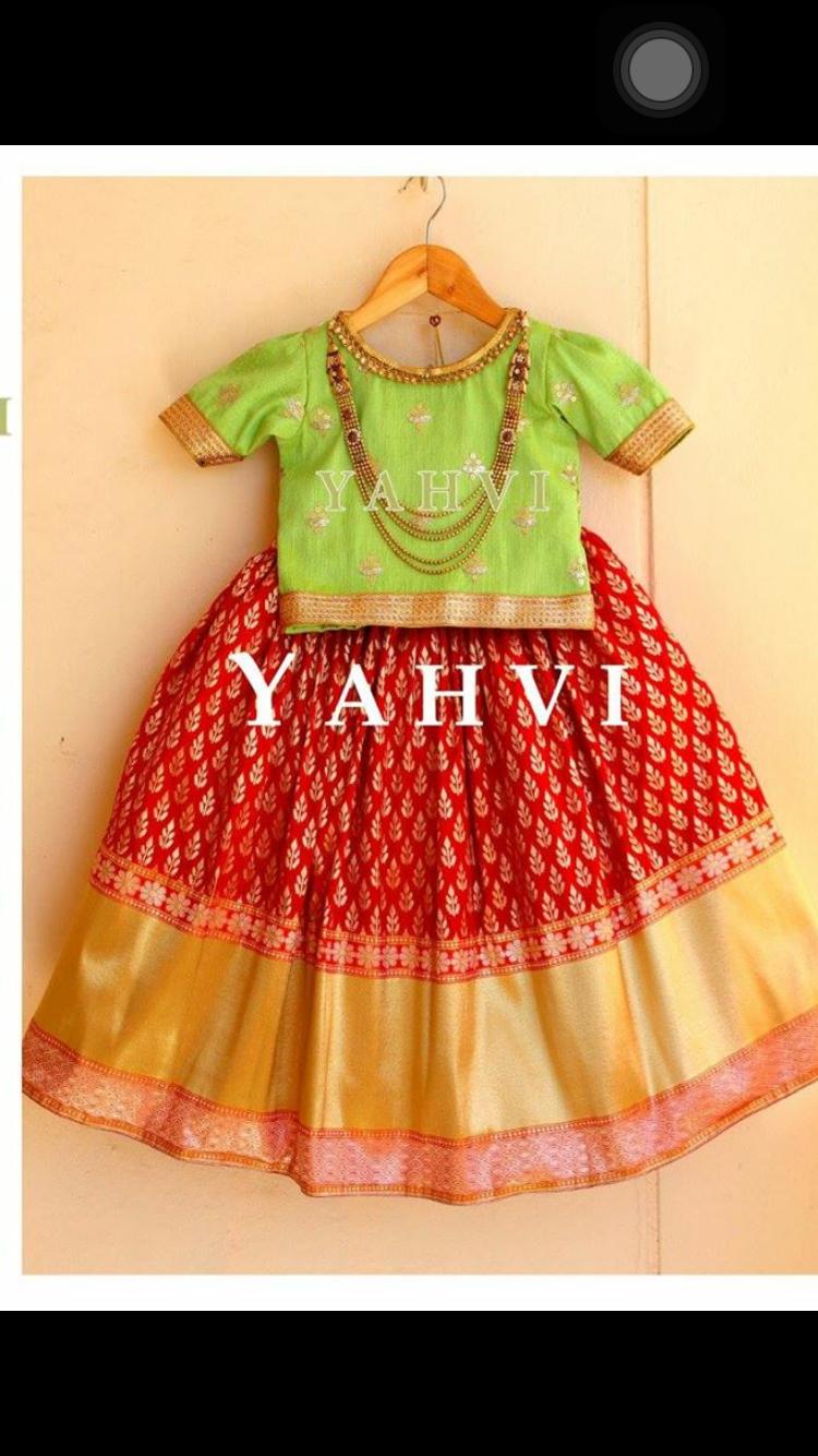 Pattu Langa Kids Blouse Designs Kids Lehenga Dresses Kids Girl