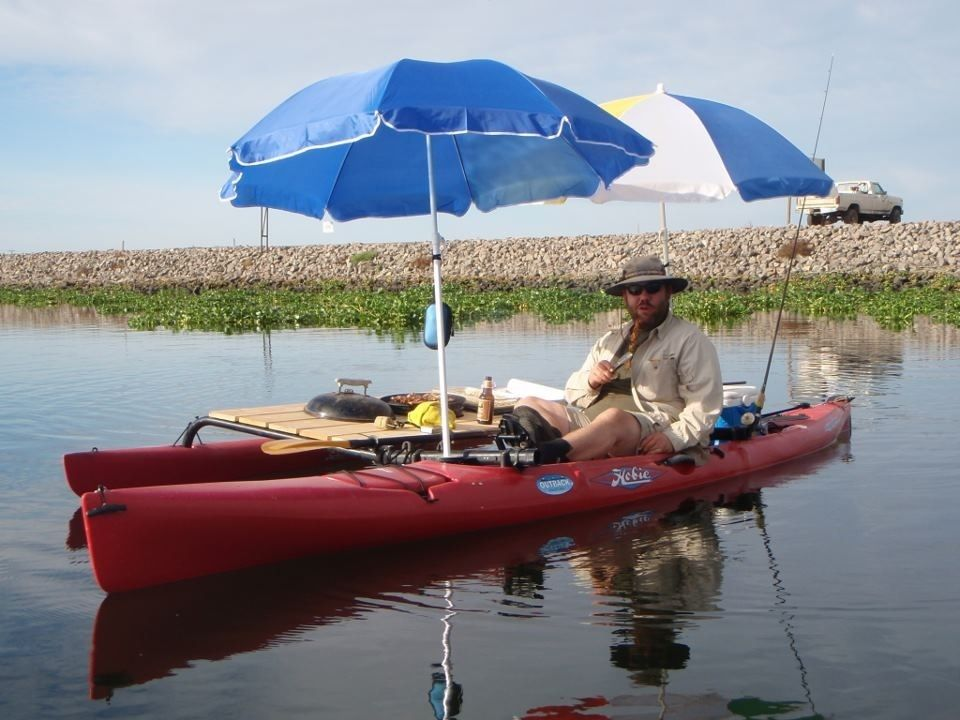 Grilling on the water via kayak fishing magazine just for Boat umbrellas fishing