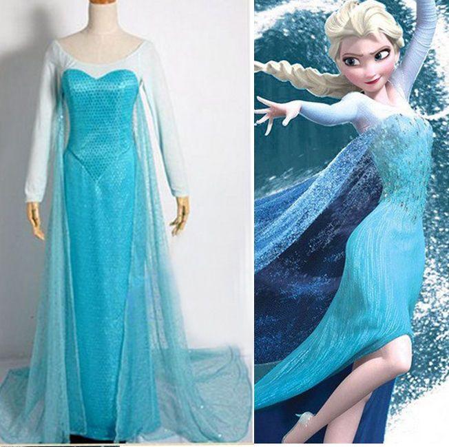 Frozen Cosplay The Snow Queen Princess Elsa Dress Costume Coronation Dress