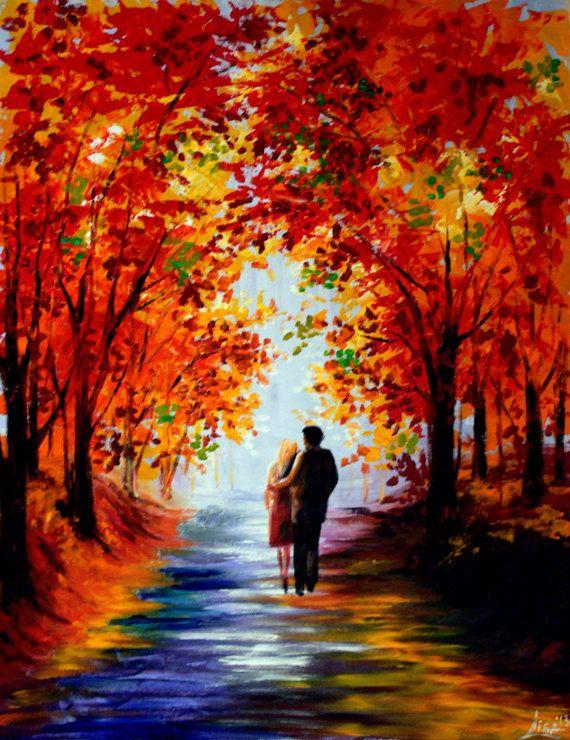 Original Painting 35 x 28 Autumn Walk Couple by ArtonlineGallery, $155.00   Kunst ideeën, Verfkunst, Idee verf