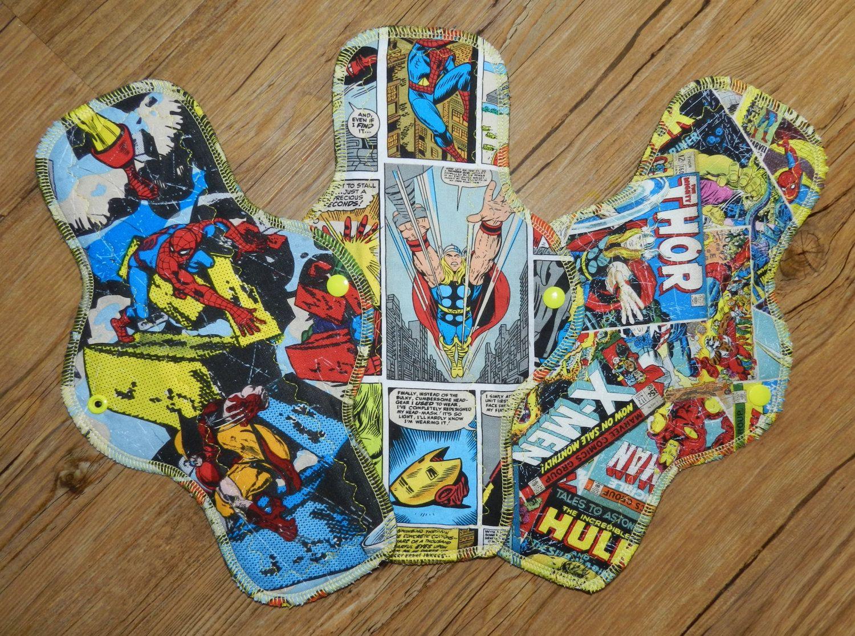 12 cotton heavy flow cloth pads marvel comics set of