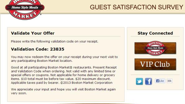 Boston Market Guest Satisfaction Survey, www ...