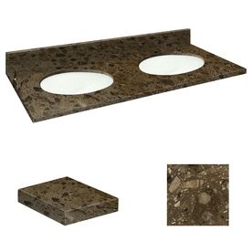 Transolid Cacao Nougat Natural Marble Undermount Double Sink Bathroom