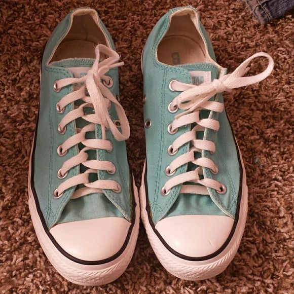 2efb3eb0b6a7 Aqua Converse Women s 8 1 2 Adorable aqua colored converse. Flaws are  pictured. Lots of life left in them
