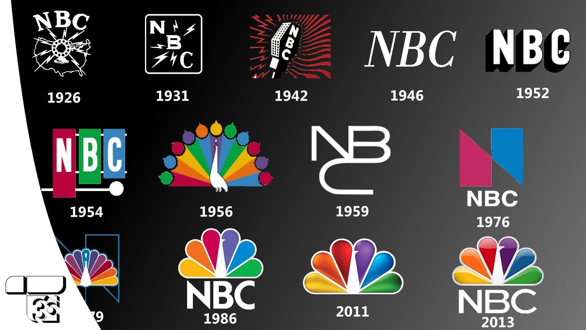 "NBC ""National Broadcasting Company"" ID logo history 1926"