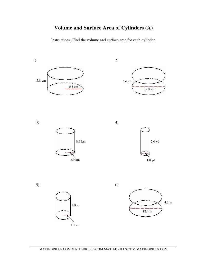 Volume and Surface Area of Cylinders (A) Measurement Worksheet   Kids  worksheets printables [ 1100 x 850 Pixel ]