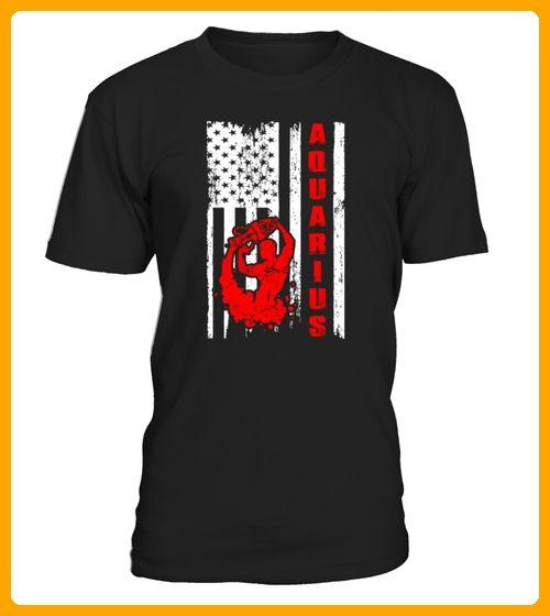 Aquarius Zodiac Astrology USA Flag Pride Tshirt TShirts - Ostern shirts (*Partner-Link)