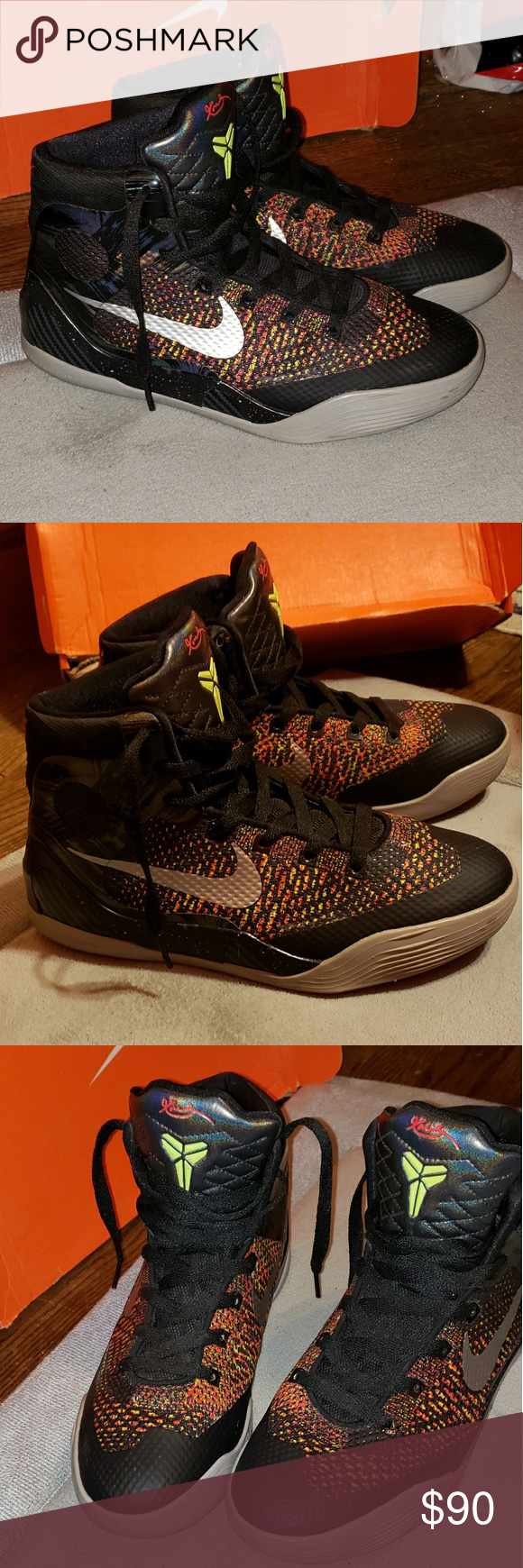 new product cff01 21bf5 Nike Kobe IX 9 Elite Masterpiece (GS) WORN BOYS SIZE 5.5 metallic silver,  black, bright crimson and volt colorway kobe bryant Shoes Sneakers
