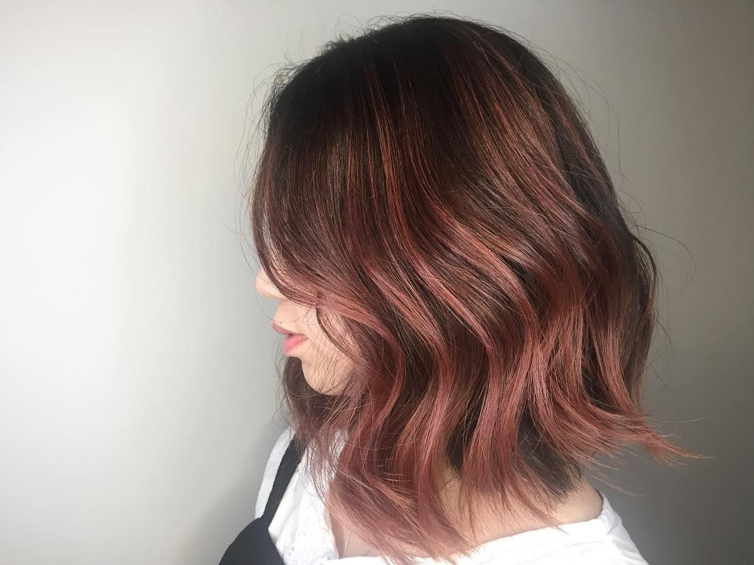 Dark rose gold hair color tipping by Aveda Artist Jordan Finch. Oro Rosa,  Tintes