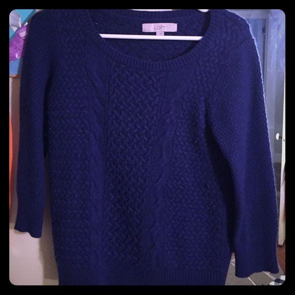 Anne Taylor loft cerulean sweater 3/4 sleeved fisherman style sweater Ann Taylor Sweaters Crew & Scoop Necks