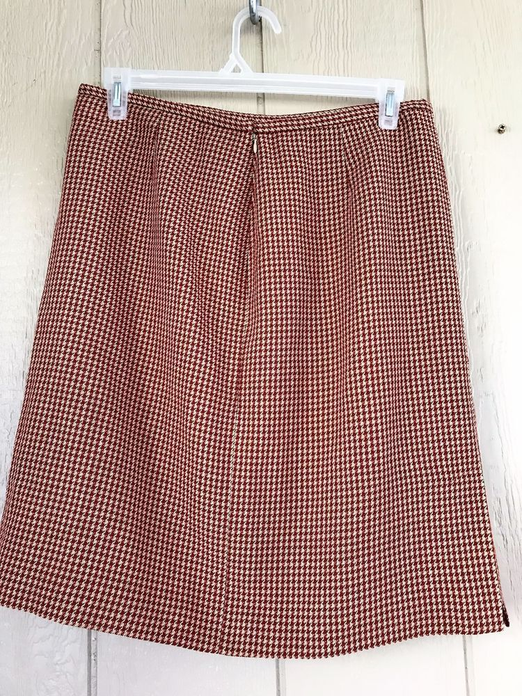 da42304528 Ann Taylor Women's Skirt Pencil Straight Red Brown Tan Houndstooth Lined  Size 14 #AnnTaylor #Pencil