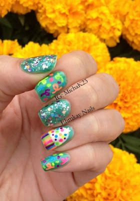 Birthday Nail Art with Cupcakes and Confetti and Cirque Polish XX   http://ehmkaynails.blogspot.com/2013/06/my-one-year-blogaversary-with-my.html