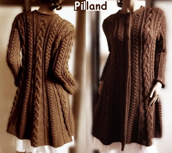 Chocolate Brown Wool Sweater Coat, Cable Knit Sweater Jacket, Many ...