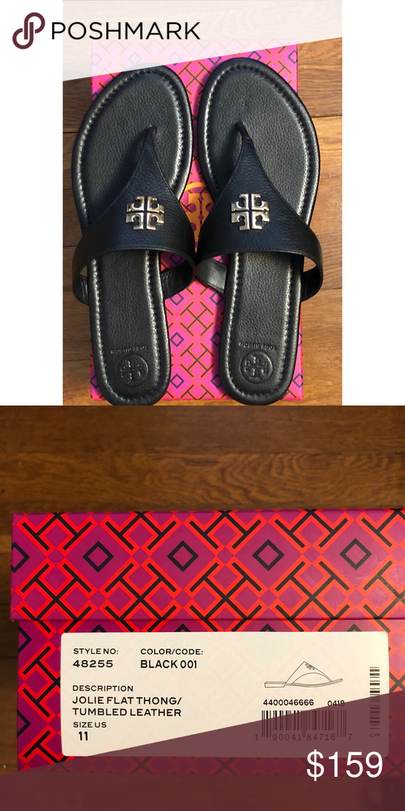 ec84fd2d8 Tory Burch Jolie Flat Thong Leather Sandal Perfect black sandal with gold  hardware. Extremely comfortable. Brand new comes with box Tory Burch Shoes  Sandals