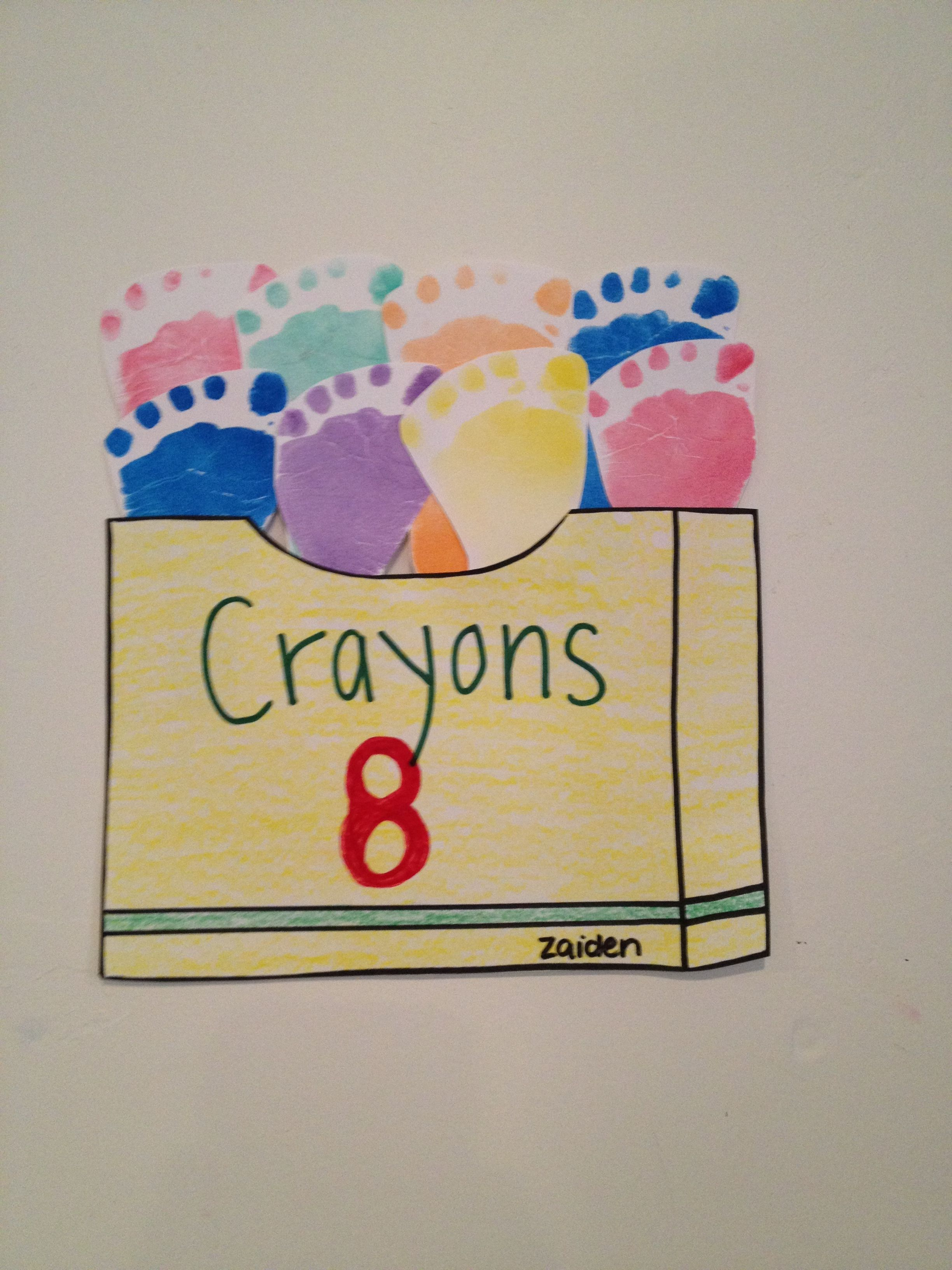 Footprint crayon box... Great for infants and/or young toddlers ...