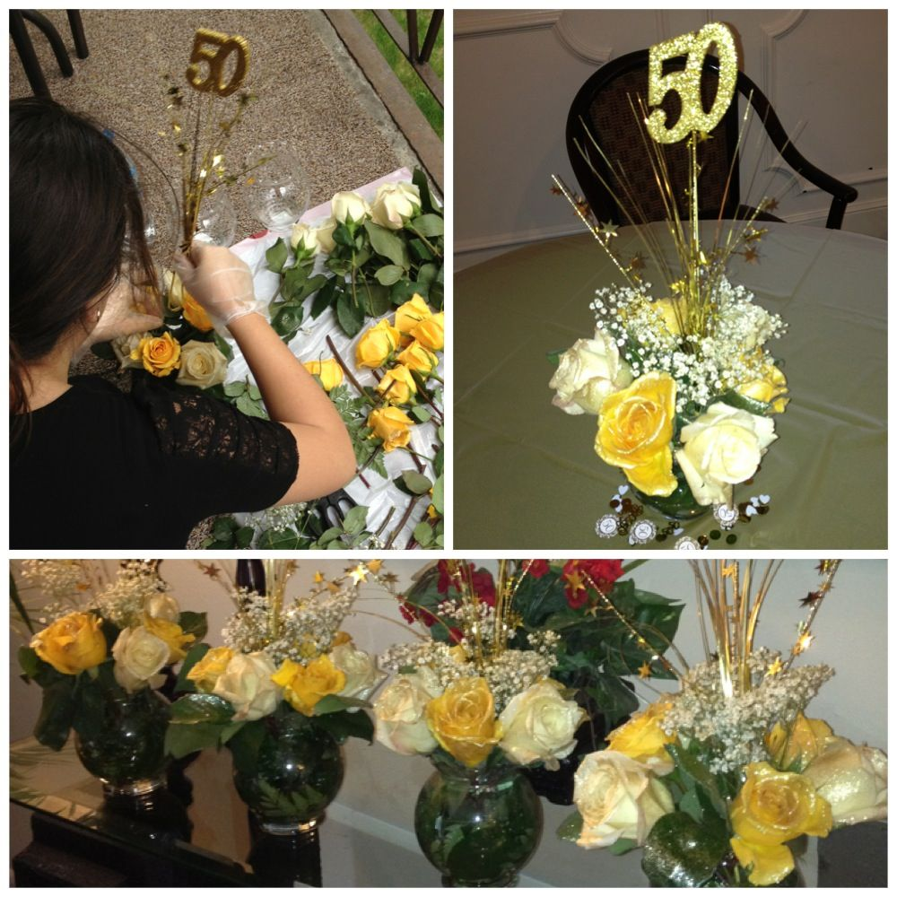 Made These Floral Arrangements For My Mom S 50th Birthday Party Spray Painted The Roses And Baby S Gold Glitter Spray Paint Glitter Spray Paint Glitter Spray
