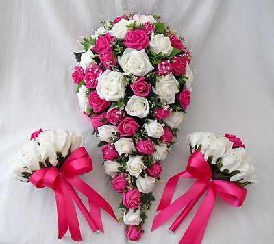 wedding flowers bouquets brides bouquet 2 posies ivory hot pink roses