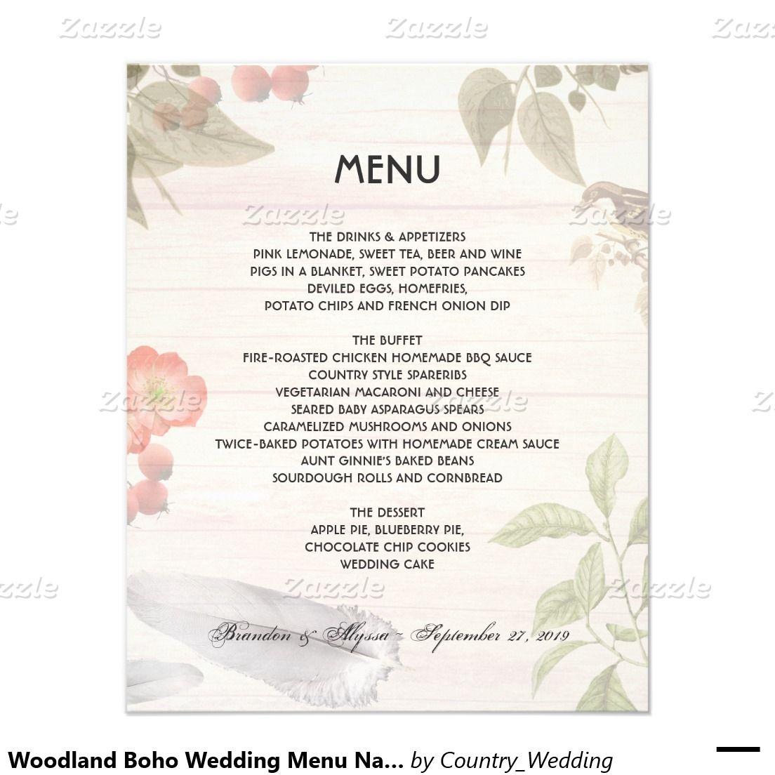 Woodland Wedding Theme Nature Menu Template