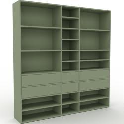 Photo of Wohnwand Nebelgrün – Individuelle Designer-Regalwand: Schubladen in Nebelgrün – Hochwertige Material