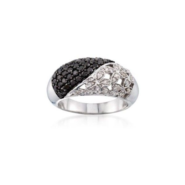 Ross-Simons 1.00 ct. t.w. Black and White Diamond Floral Ring in... ($199) ❤ liked on Polyvore featuring jewelry, rings, silver, birthday rings, diamond rings, black and white diamond jewelry, black and white diamond ring and black and white jewelry
