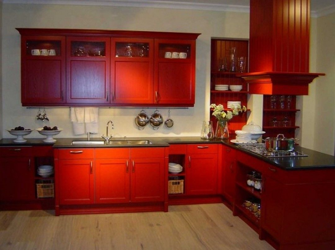 6 Ideas Style Red Kitchen Cabinets In 2020 Red Kitchen Cabinets Farmhouse Kitchen Cabinets Gloss Kitchen Cabinets