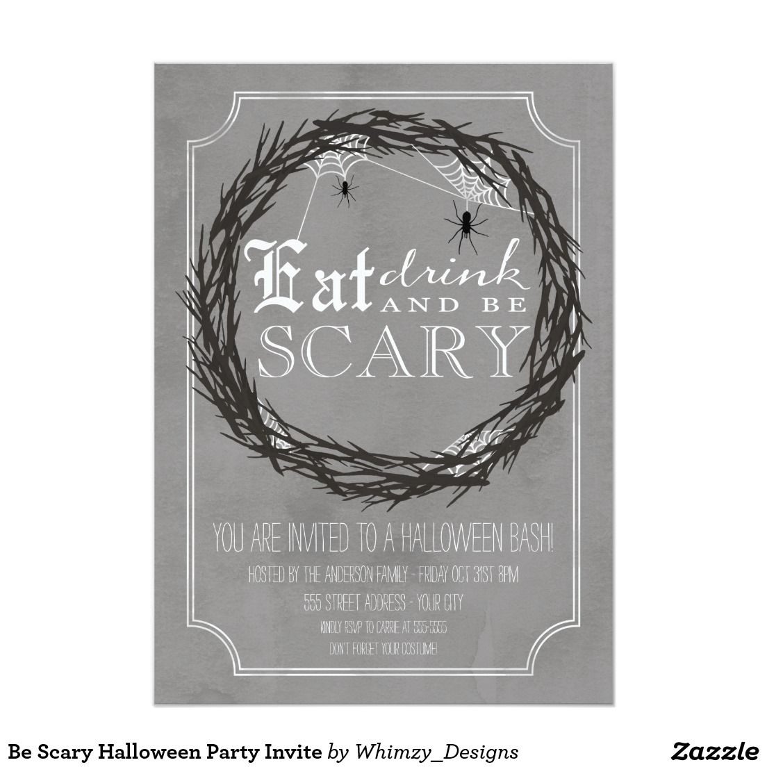 Be Scary Halloween Party Invite | Halloween Party Invitations ...