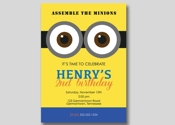 Despicable Me Minion Birthday Invitation Custom By TrendyHenry 1200