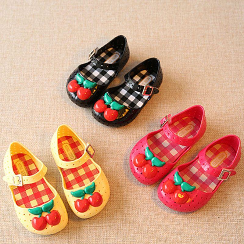 b36e6a48f Summer Kids Cute Cartoon Cherry Girls Jelly Shoes Rubber Sole Flat Sandals   Unbranded  Sandals