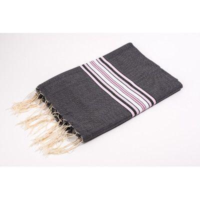 Yuka Fouta Canvas Bayadere Stripes Bath Towel Color: Black