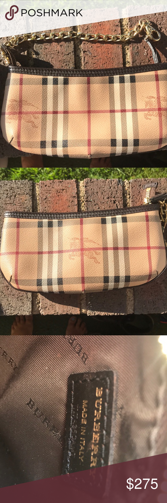 FINAL PRICE Authentic Gorgeous Burberry wristlet Burberry wristlet —with gold  metal detail includes protective bag 70763161f08cd