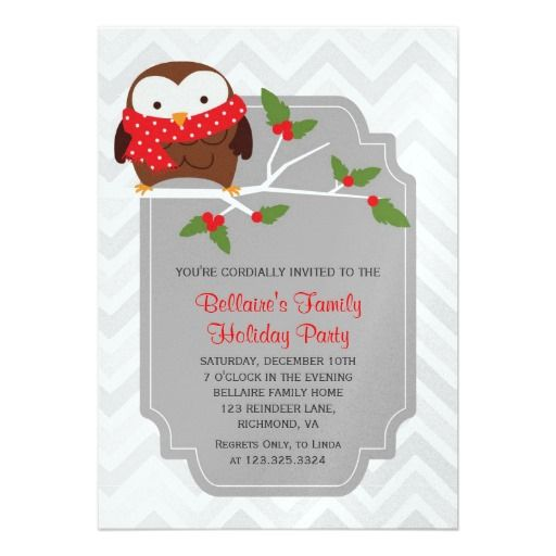 Modern Cute Owl With Scarf Christmas Party Invitation- Winter Ladies dinner party