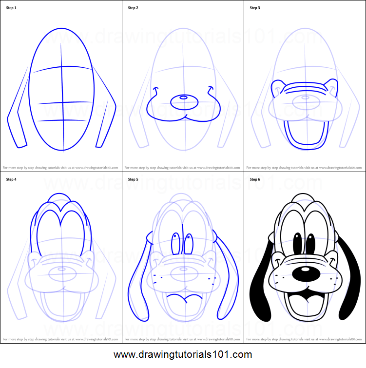 Wonderbaarlijk How to Draw Pluto Face from Mickey Mouse Clubhouse printable step GY-55