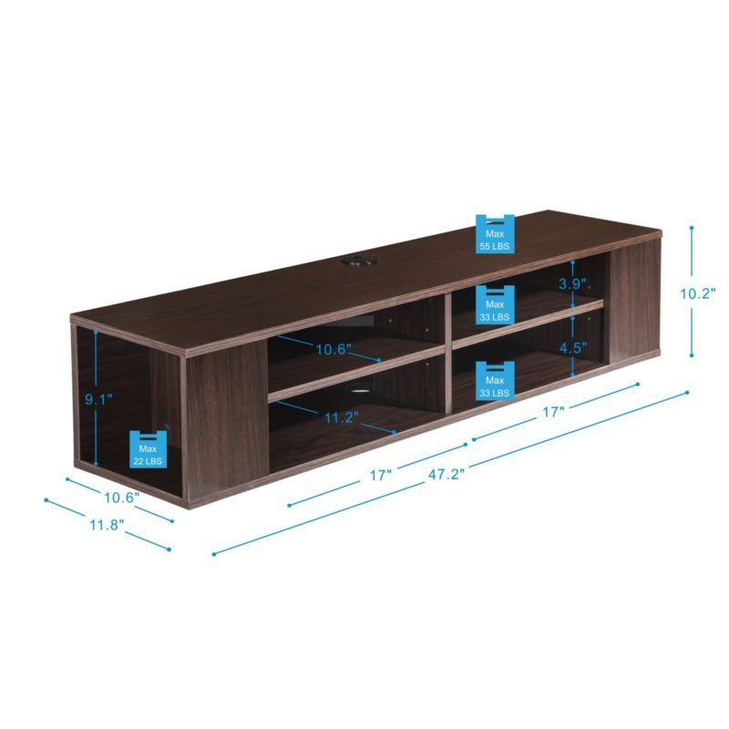 Floating Entertainment Center Wall Mount Hanging Media Console Storage Tv Stand Floating Entertainment Center Console Storage Mounted Shelves