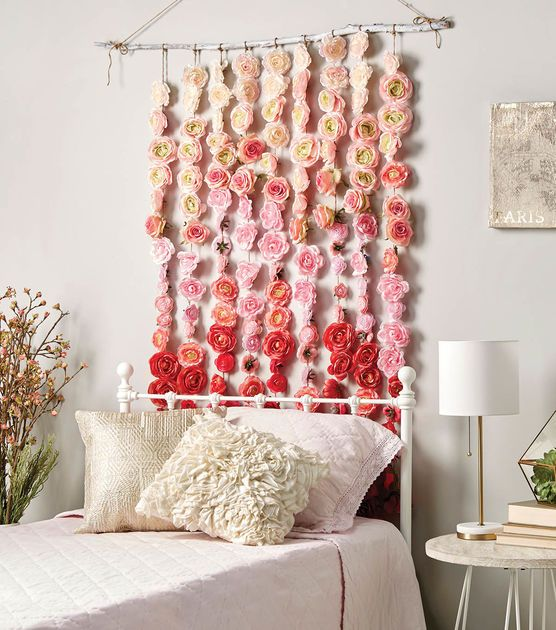 How to make a rose garland diy home decor pinterest for Chart paper decoration ideas
