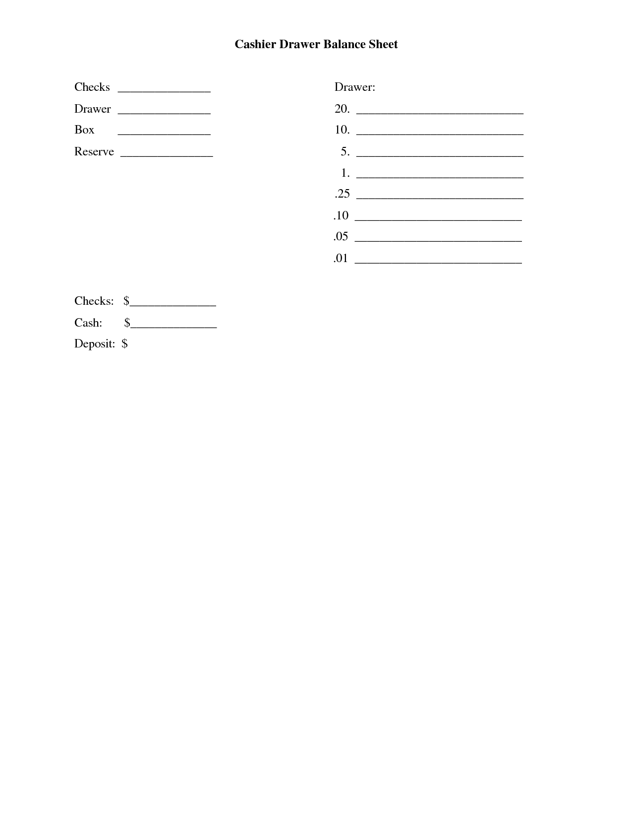 Cash Drawer Balance Sheet Template