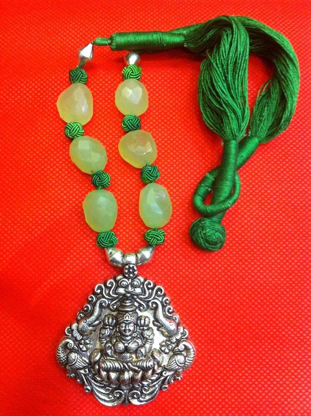 Gajalakshmi Temple Pendant in Green Chalcedony Necklace