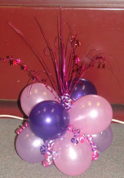 Balloon centerpieces for tables cluster of 8 balloons for Balloon cluster decoration