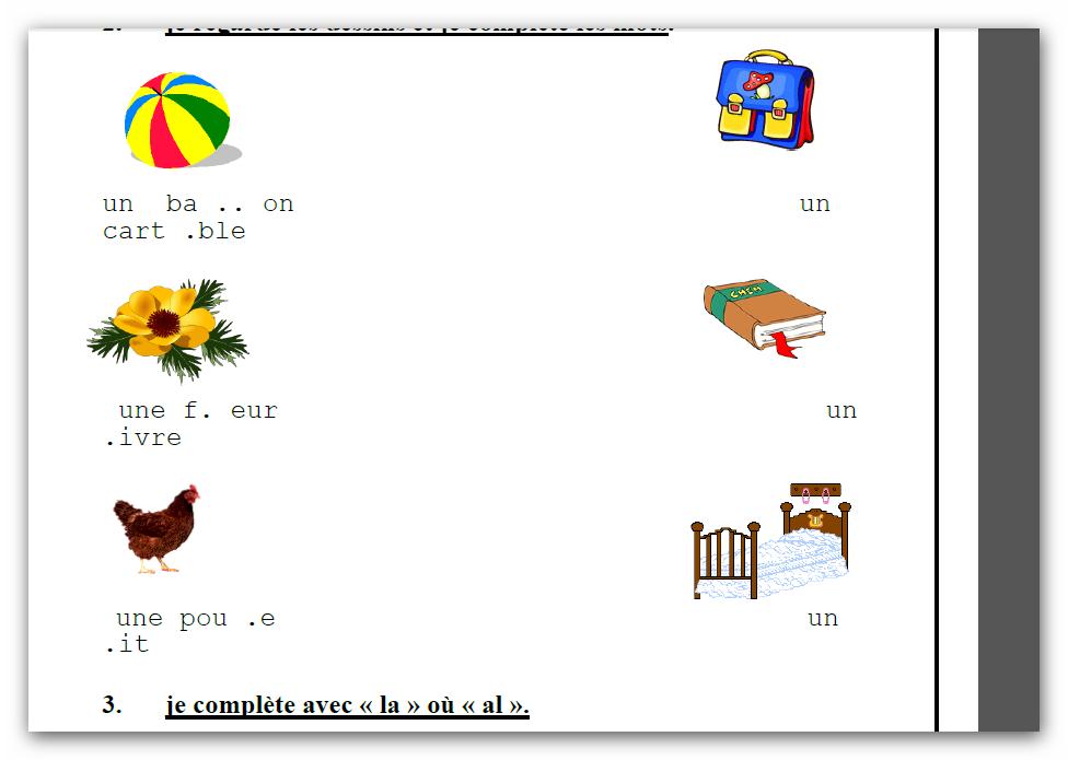 parascolaire 3eme,4eme,5eme,6eme année primaire   Français 3ème, Exercice francais, France